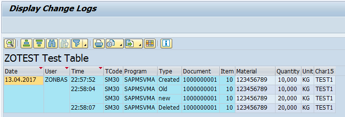 Change log for Z-Table Maintenance (via SCDO) | SAP Blogs